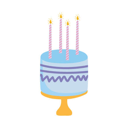 birthday cake with candles celebration decoration white background vector illustration