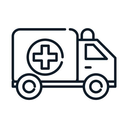health medical transport ambulance emergency line icon vector illustration Ilustración de vector