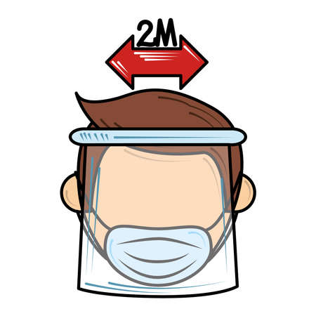 social distance and wear mask new normal after coronavirus covid 19 vector illustration Vektoros illusztráció