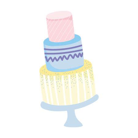 sweet birthday cake celebration party isolated white background vector illustration
