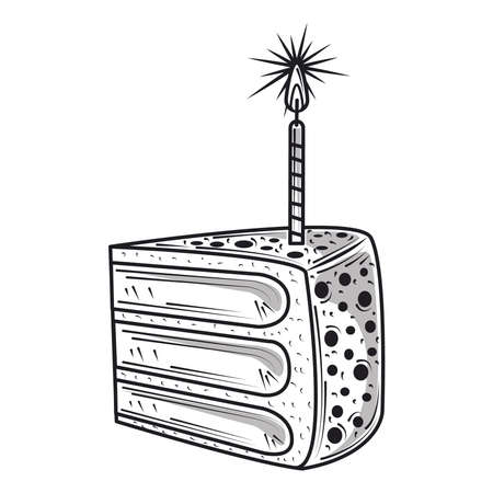 happy birthday slice cake with candle celebration party, engraving style vector illustration