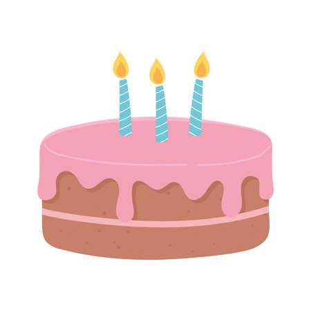 happy birthday cake with candles celebration party cartoon vector illustration Illusztráció