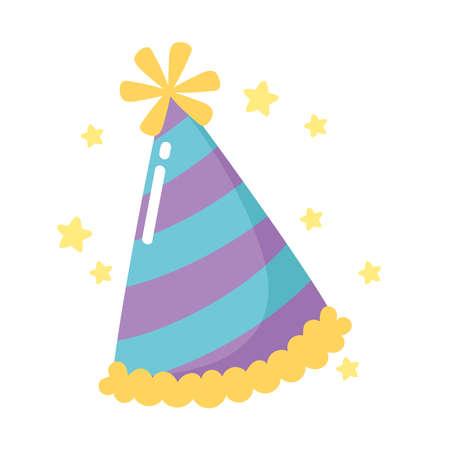 happy birthday striped party hat celebration cartoon vector illustration