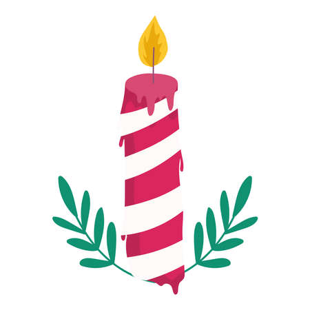 merry christmas candle with leaves decoration and celebration icon vector illustration