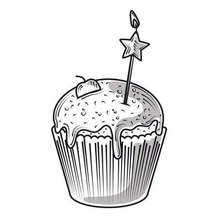 happy birthday sweet cupcake with star candle celebration party, engraving style vector illustration