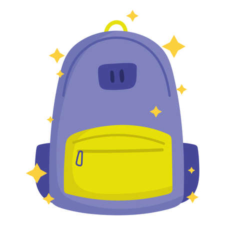 back to school, backpack supply cartoon icon vector illustration