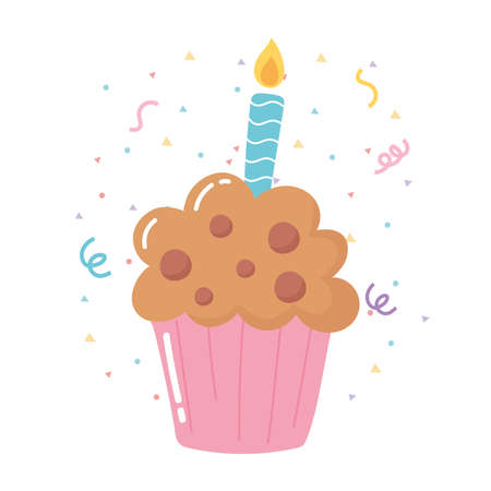 happy birthday cupcake with candle celebration party cartoon vector illustration
