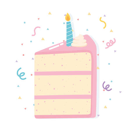 happy birthday slice cake with candle celebration party cartoon vector illustration