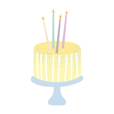 birthday cake with candles celebration isolated icon vector illustration