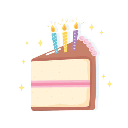 happy birthday, slice cake with candles celebration party cartoon vector illustration
