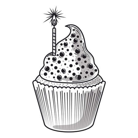 happy birthday cupcake with candle celebration party, engraving style vector illustration
