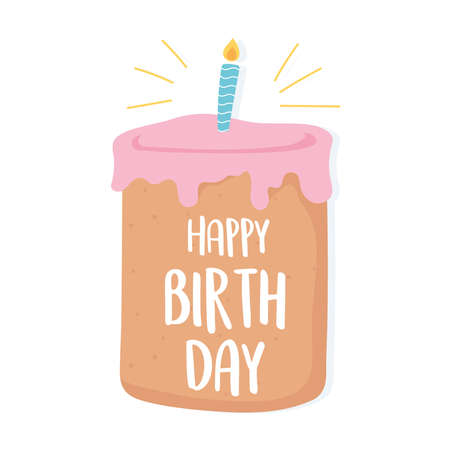 happy birthday handwritten lettering in cake with candle celebration cartoon vector illustration