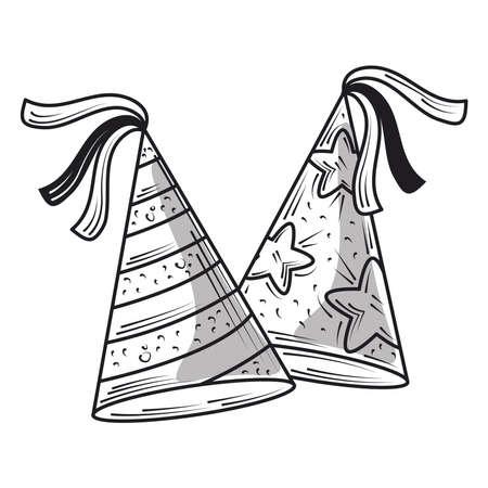 happy birthday celebration party hats, engraving style vector illustration