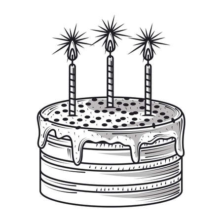 happy birthday cake with burning candles celebration party, engraving style vector illustration