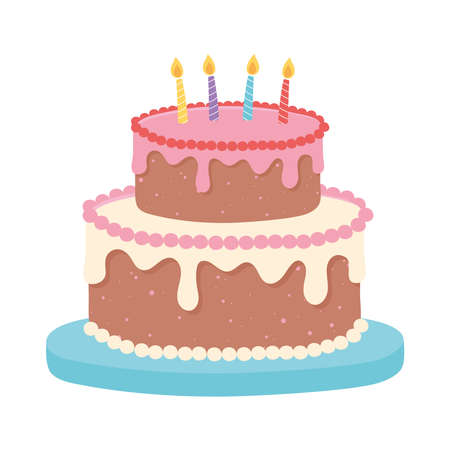 happy birthday sweet cake with candles celebration party cartoon vector illustration