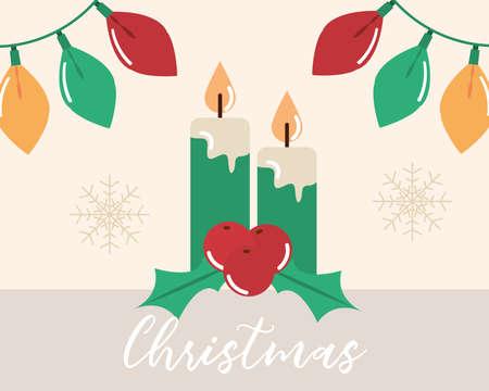 merry christmas, candles lights and holly berry decoration vector illustration flat Illusztráció