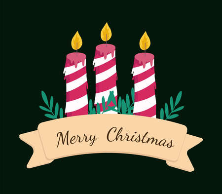 merry christmas striped candles leaves and ribbon decoration vector illustration