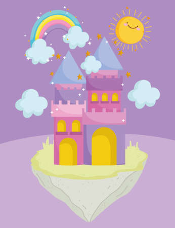 cute castle cartoon rainbow clouds sun dream magic vector illustration