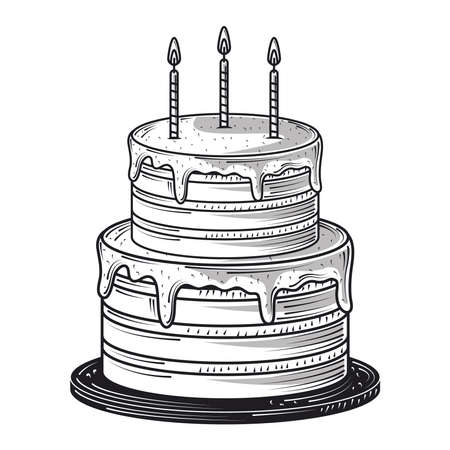 happy birthday sweet cake with candles celebration party, engraving style vector illustration