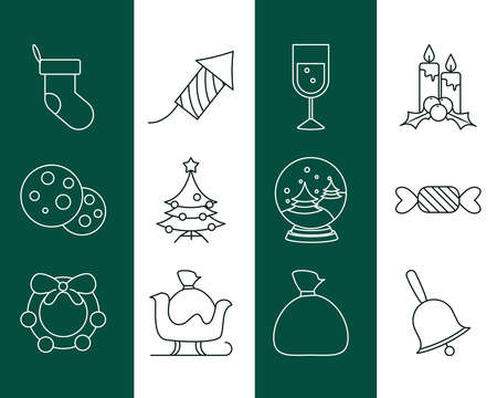 merry christmas, sock fireworks tree candle decoration icons set line style vector illustration
