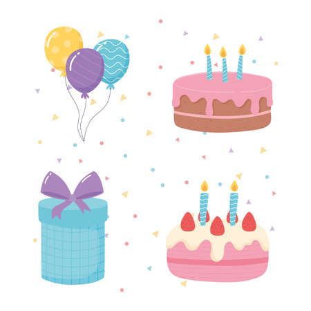 happy birthday, cakes gift and balloons celebration party cartoon icons vector illustration