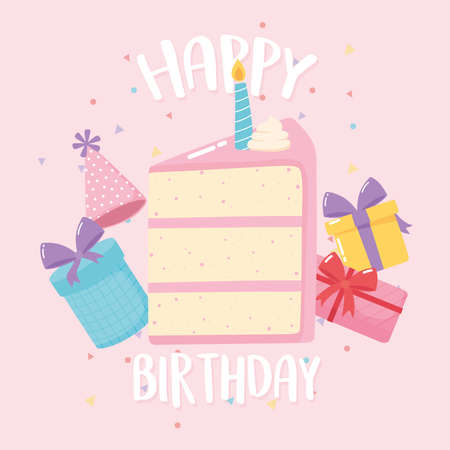 happy birthday, lettering card cake gifts celebration party cartoon vector illustration