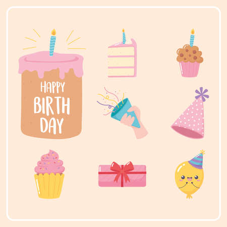 happy birthday, icons cake gifts balloon cupcake celebration party cartoon vector illustration Illusztráció