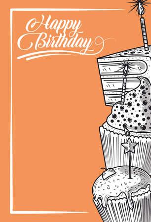happy birthday cupcake and cake with candle celebration party, engraving style orange background vector illustration Illusztráció