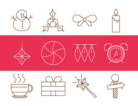 merry christmas, snowman bow candle gift decoration icons set line style vector illustration