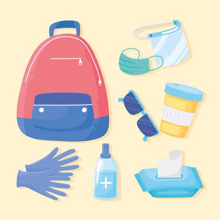 new normal travel hygiene bag gloves medicine mask icons vector illustration