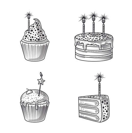 happy birthday, icons cake cupcake and candles party, engraving style vector illustration Illusztráció