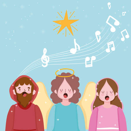 nativity, manger joseph mary and angel singing carols cartoon vector illustration