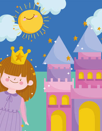 cute princess with crown and castle sunny day cartoon vector illustration