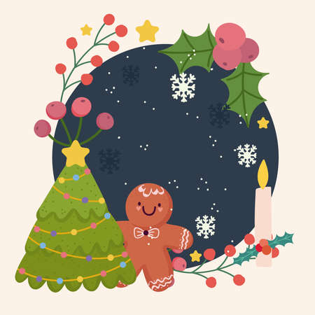 merry christmas gingerbread man tree snowflakes candle decoration frame vector illustration