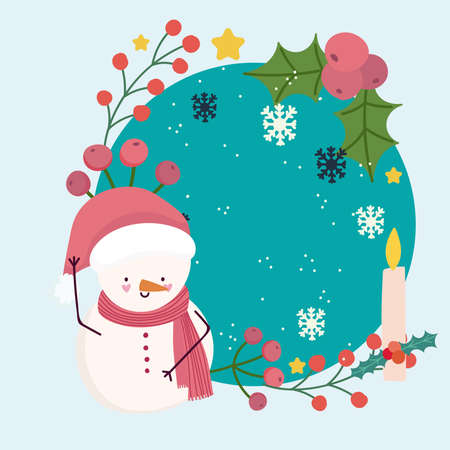 merry christmas cute snowman with candle snowflakes holly berry frame vector illustration