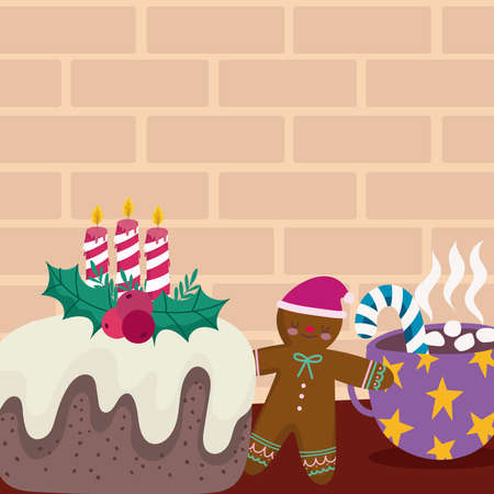 merry christmas cake with candle gingerbread man and chocolate cup vector illustration