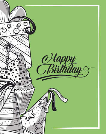 happy birthday party hat cake gift and celebration party, engraving style green background vector illustration