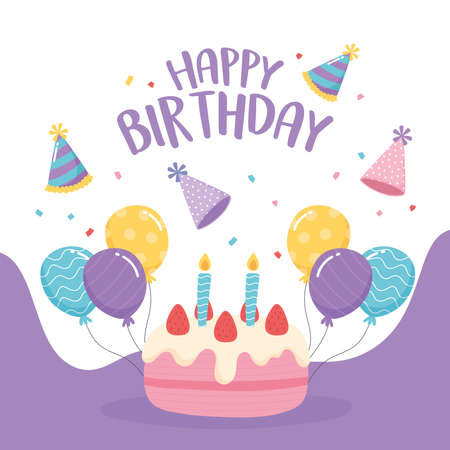 happy birthday, greeting card cake balloons and party hat celebration vector illustration