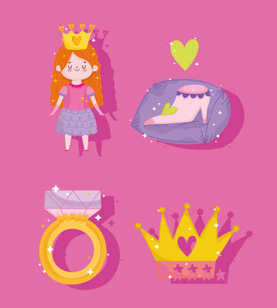 princess shoe ring and crown cartoon icons set vector illustration