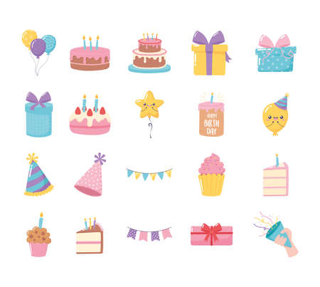 happy birthday, set icons of cake hat gift boxes cupcake balloons cartoon vector illustration