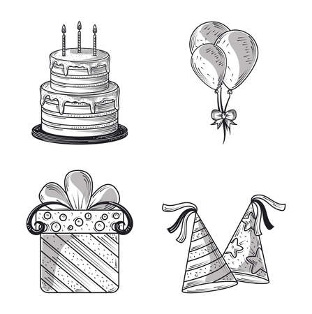 happy birthday celebration party hats gift cake and balloons, engraving style vector illustration