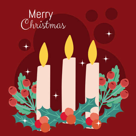 merry christmas candles holly berry greeting card vector illustration