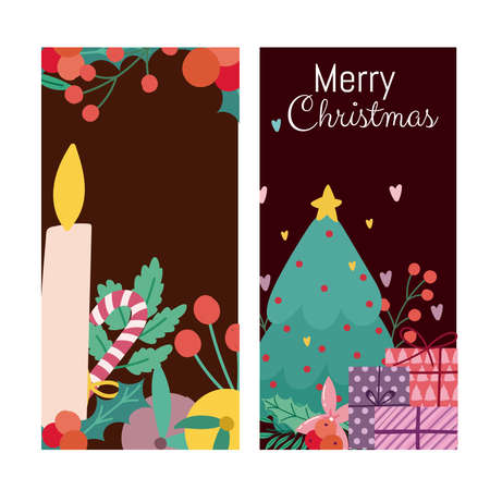 merry christmas candle tree gifts and branches banner vector illustration