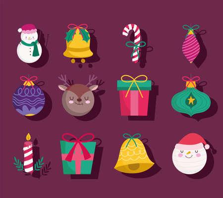 merry christmas snowman deer gift ball bell candle decoration and ornament season icons vector illustration Illusztráció