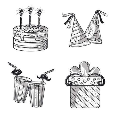 happy birthday party hats cake gift and beverage celebration, engraving style vector illustration Illusztráció