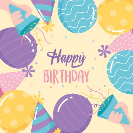 happy birthday, greeting card balloons hats horns confetti celebration party cartoon vector illustration