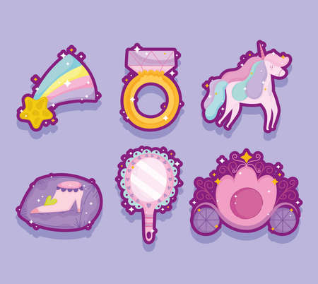 princess unicor ring star mirror shoe and carriage shadow icons vector illustration