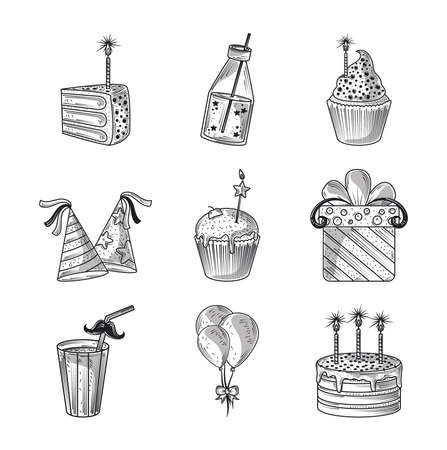 happy birthday cake gift hat balloon celebration decoration party, icons engraving style vector illustration