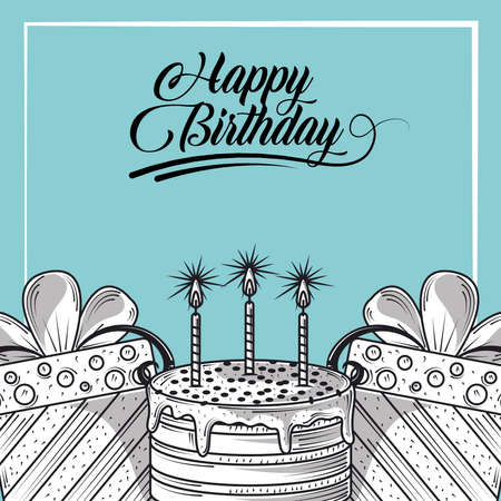 happy birthday greeting card with cake and gifts, engraving style vector illustration