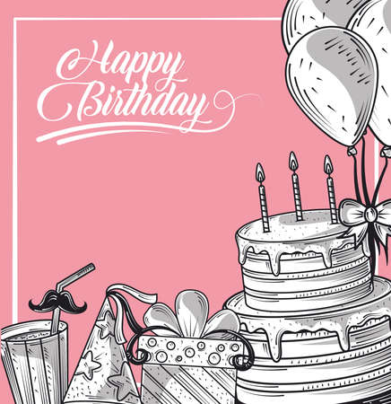 happy birthday cake gift hat and balloons celebration party, engraving style card vector illustration